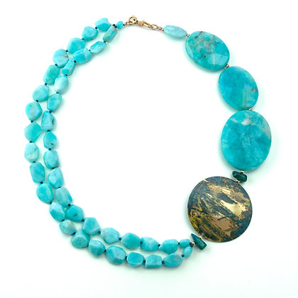 Amazonite and Brass Necklace