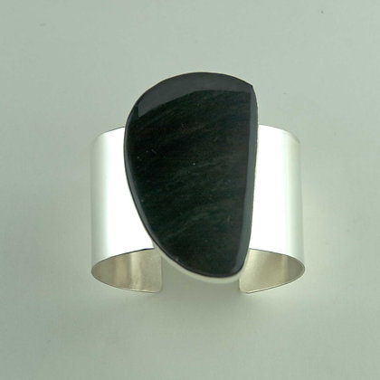 Rainbow Obsidian and Sterling Silver Cuff Bracelet