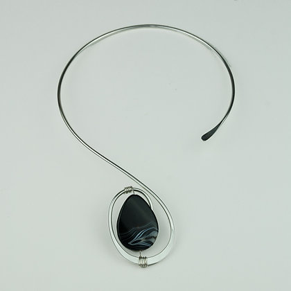 Silverplate Collar with Black Agate