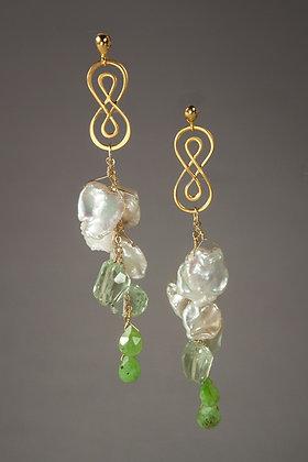 Keshi Pearl and Green Amethyst Earrings