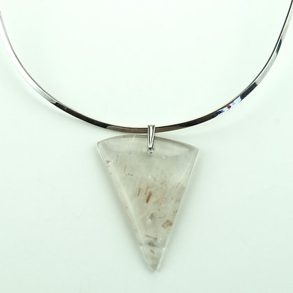 Quartz Pendant with Silverplate Collar