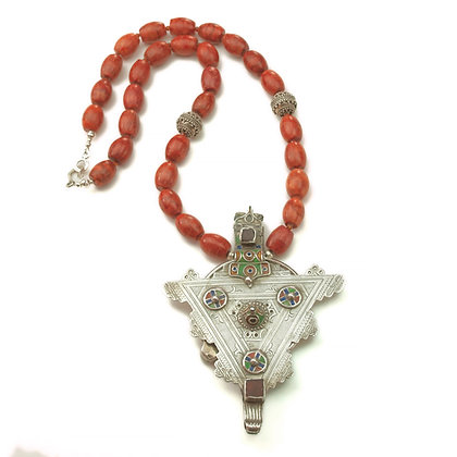 Coral and Vintage Pendant