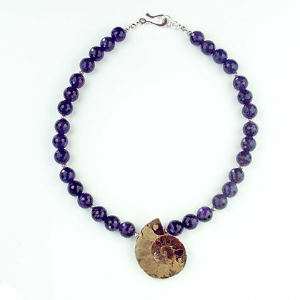 Amethyst and Ammonite Necklace