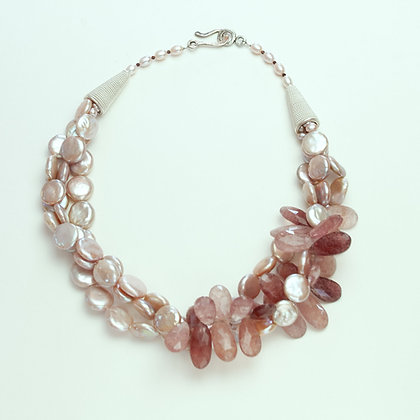 Coin Pearl and Strawberry Quartz Necklace