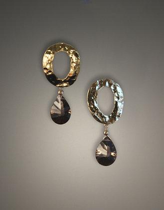 W235787 Double Faceted Smokey Quartz Earrings