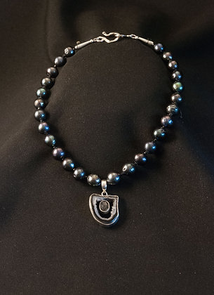 W1147345 Drusy Agate and Pearl Necklace