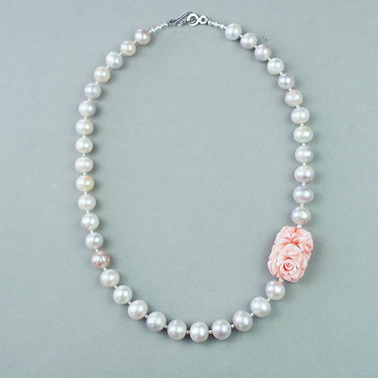 Carved Coral and Edison Pearl Necklace