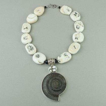 Ammonite and Coral Necklace
