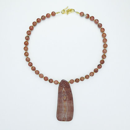 Peppermint Jasper and Rhodocrosite Necklace