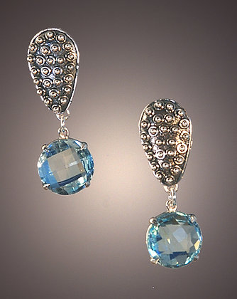 Blue Topaz and Sterling Earrings