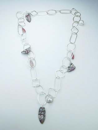 Dumortierite and Pearl Chain Necklace
