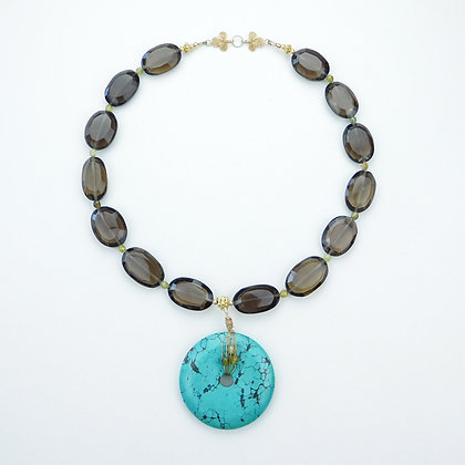 Smokey Quartz and Turquoise Necklace