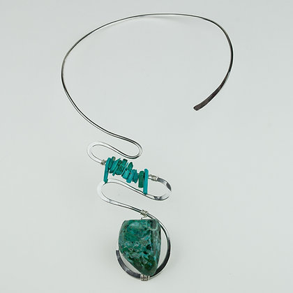 Silverplate Collar with Chrysocholla