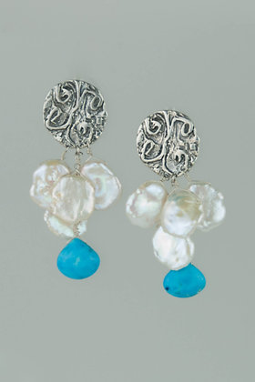 White Keshi Pearls with Turquoise Earrings