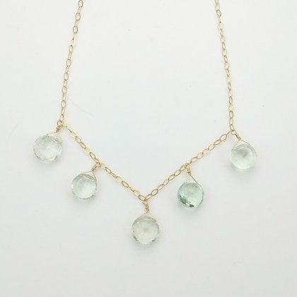 Green Amethyst and Chain Necklace
