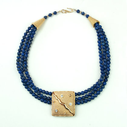 Sodalite and Vintage Brooch Necklace