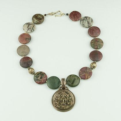 Jasper and Handmade Bronze Necklace