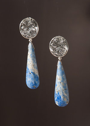 Denim Lapis and Sterling Earrings