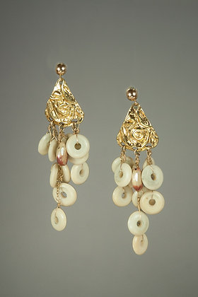 Gold Vermeil and Natural Bone Earrings