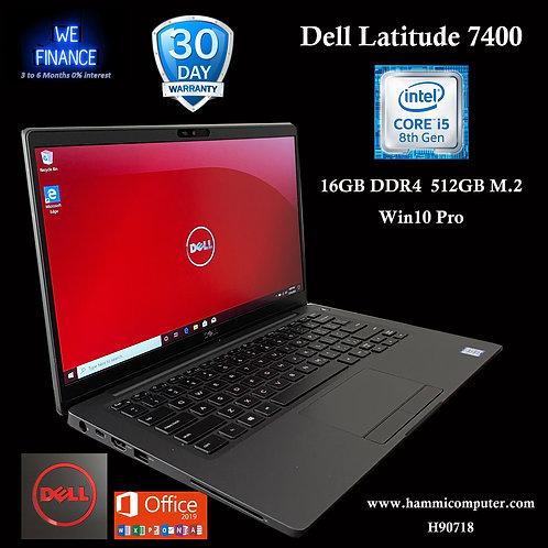 """Dell Latitude 7400 - 14"""" - Core i5 8365U - 16 GB RAM - 512 GB SSD, Win10 Pro"""
