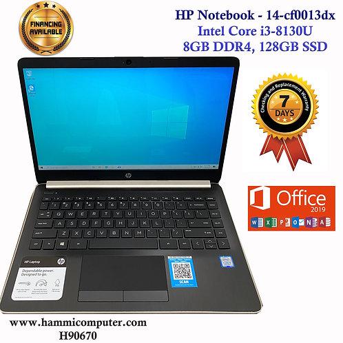 """HP Notebook - 14-cf0013dx, Intel Core i3-8130U, 8GB DDR4, Win10 """"H906"""