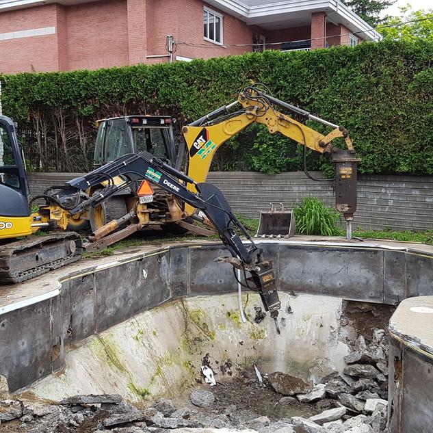 Démolition d'une piscine creusée