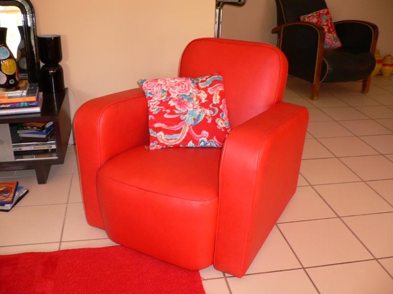 confortable skaï rouge
