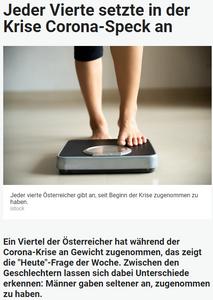 Unique research Umfrage HEUTE Frage der Woche Haben Sie seit Anbeginn der Corona-Krise Mitte Maerz zugenommen, abgenommen oder Ihr Gewicht gehalten online artikel