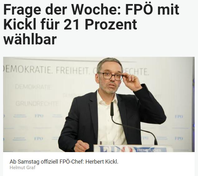Unique research Umfrage HEUTE Frage der Woche Ist die FPÖ mit Herbert Kickl als Parteichef für Sie prinzipiell wählbar? Online Artikel