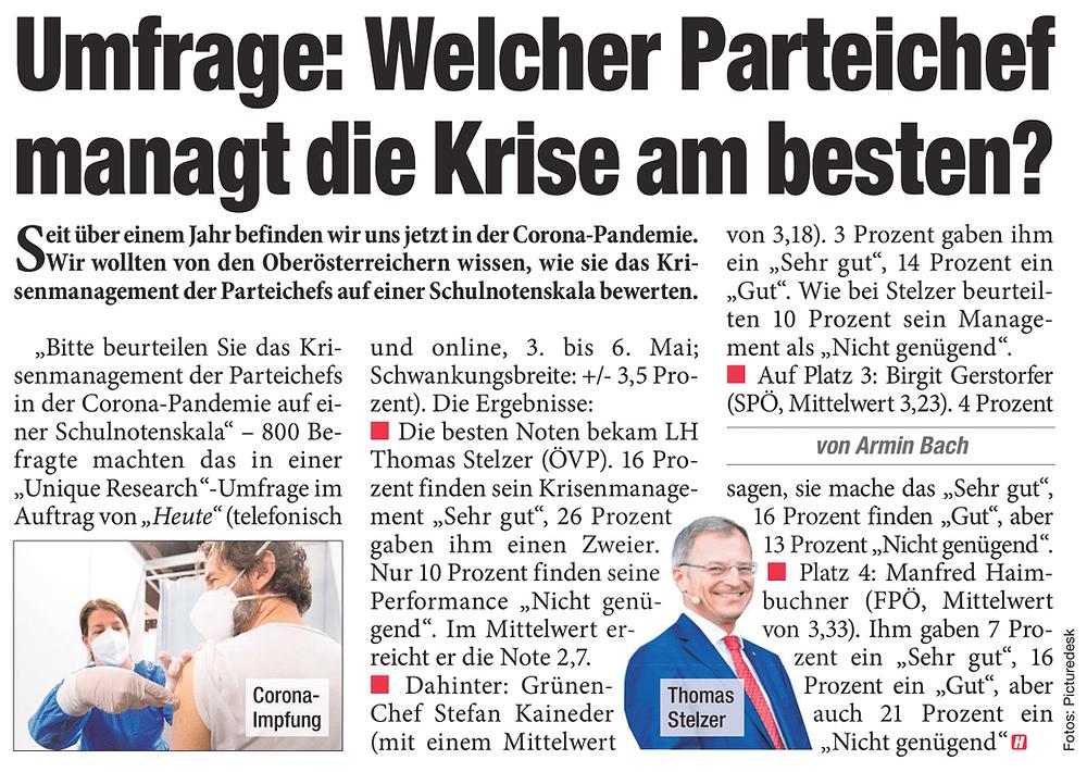 Unique research Umfrage HEUTE Frage der Woche  Wie beurteilen Sie das Krisenmanagement der Parteichefs in Oberösterreich? Print Artikel