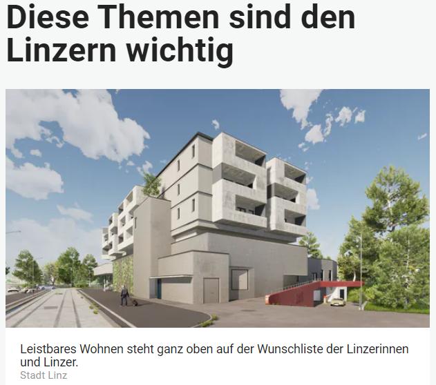 Unique research Umfrage HEUTE Welche zwei Themen sollte die Politik in Linz am dringendsten angehen? Online Artikel