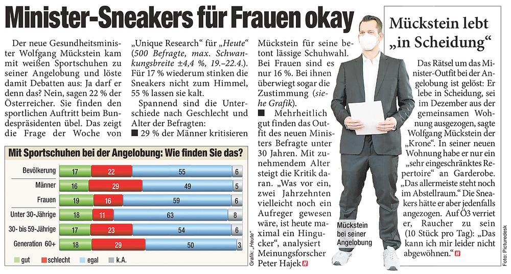Unique research Umfrage HEUTE Frage der Woche Was halten Sie davon, dass Mückstein zur Angelobung in Turnschuhen erschienen ist? Print Artikel