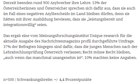 unique research umfrage frage der woche asylwerber müssen nach lehre in österreich, österreich wieder verlassen, sofern sie keine anerkennung als flüchtlinge haben. welche meinung haben sie dazu? Online Artikel