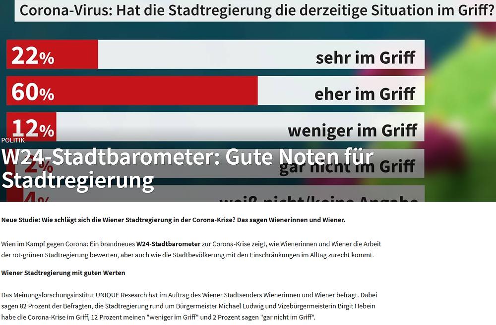 Unique research Umfrage W24 Stadtbarometer zu coronavirus josef kalina peter hajek