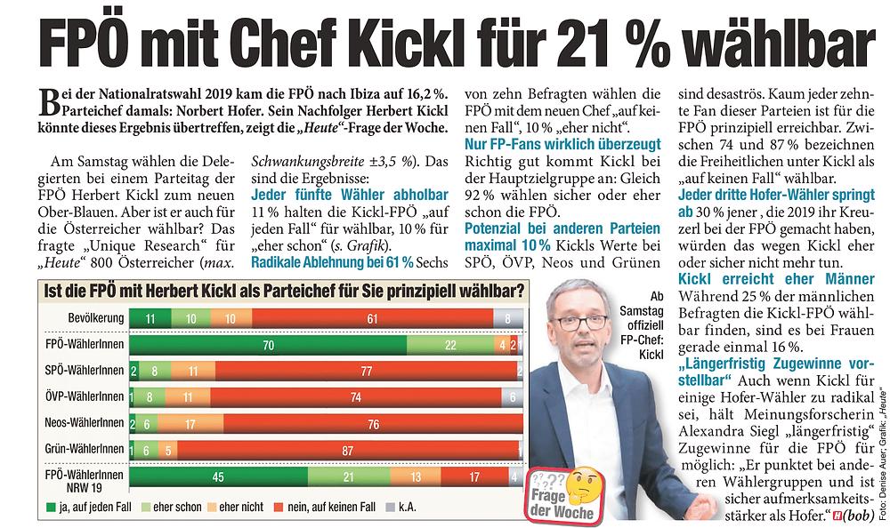 Unique research Umfrage HEUTE Frage der Woche Ist die FPÖ mit Herbert Kickl als Parteichef für Sie prinzipiell wählbar? Print Artikel