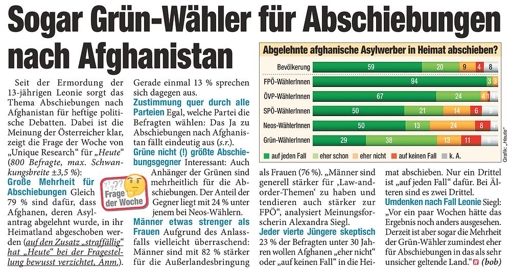 Unique research Umfrage HEUTE Frage der Woche Sollen afghanische Asylwerber, deren Asylantrag in Österreich abgelehnt wurde, wieder nach Afghanistan abgeschoben werden? Print Artikel