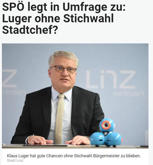 Unique research Umfrage HEUTE Sonntagsfrage Gemeinderatswahl Linz Online Artikel