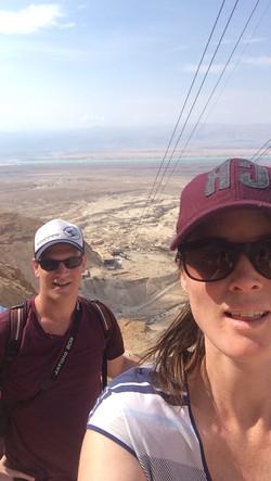 Hiking up Masada