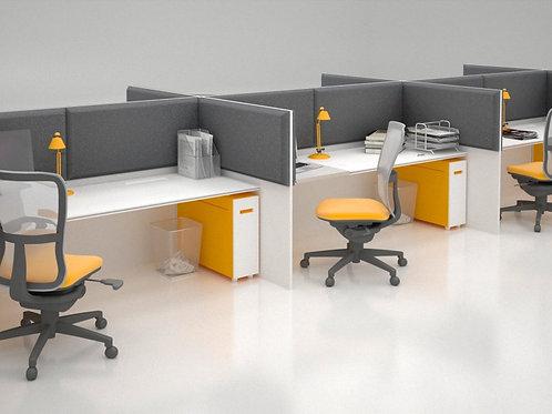 Акустическая ширма для офисных столов Ecosound Quadro Screen grey 100х50 см 50мм