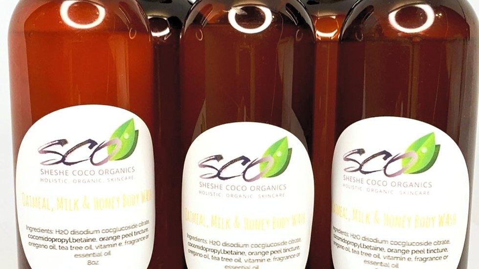 Organic Body Wash Oatmeal, Milk & Honey (Vegan)