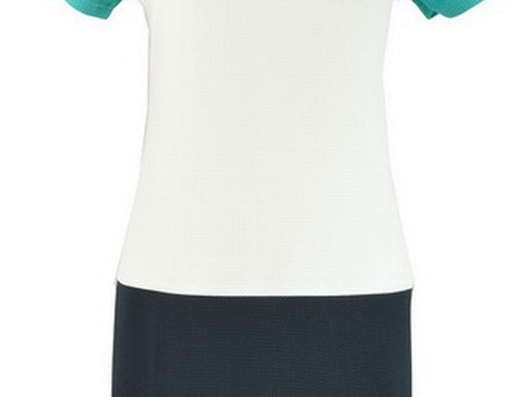 28C9033 Color Block Shift Dress (TURQ)