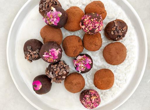 Rose and Tahini Dark Chocolate Truffles