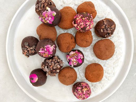 Rose and Tahini Dark Chocolate Truffles