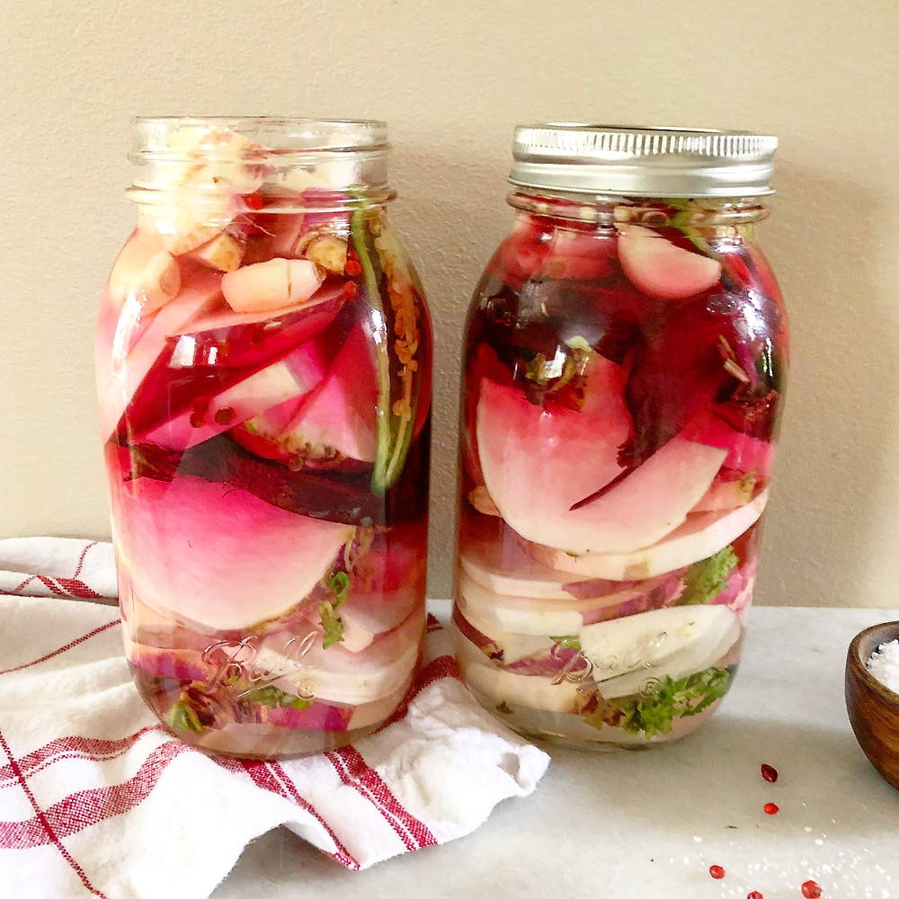 Give the jar a good shake so the beets bleed through