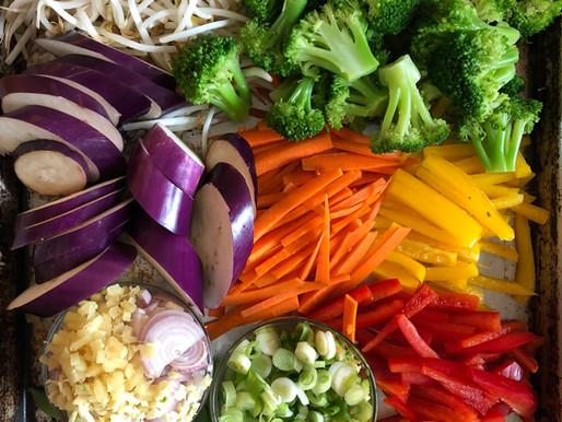 Rainbow veggies & chicken stir fry