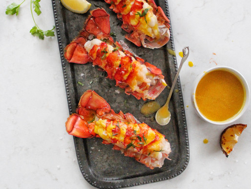 Broiled Lobster Tails with Lemon Saffron Butter