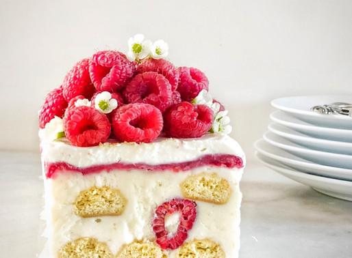 No Bake Lemon Raspberry Cream Cheese Icebox Cake
