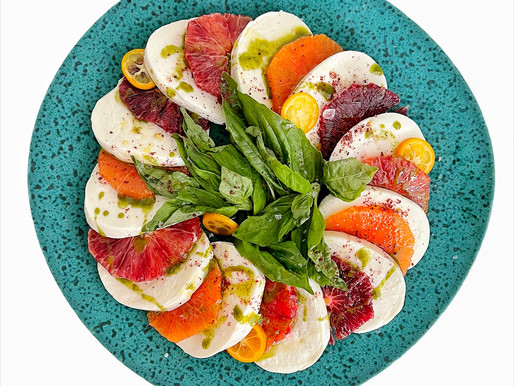 Winter Orange Caprese Salad with Basil Oil