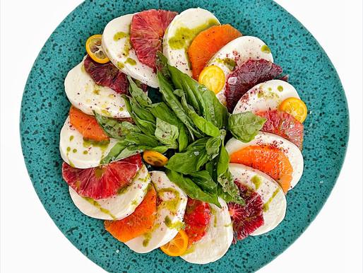 Winter Orange Caprese Salad with Basil Oil