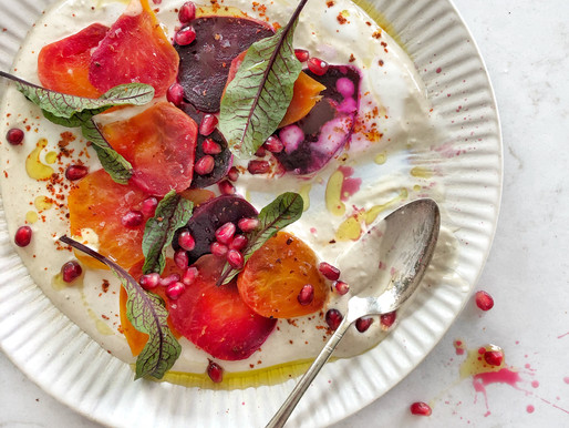 Stay Upbeet with Roasted Beets on a bed of Tahini, Kefir & Lemon